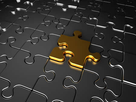 leadership key: The golden jigsaw puzzle piece completes the whole puzzle.