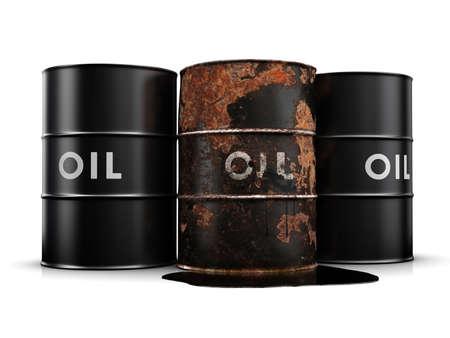 oil spill: Oil spill a causa di un arrugginito, tamburo di petrolio fuoriuscita.