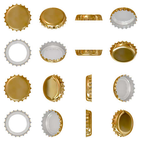 Isolated golden crown cap viewed from in different angles