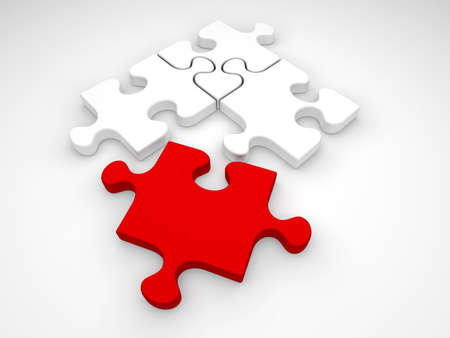One red and three white jigsaw puzzle pieces on a white background.