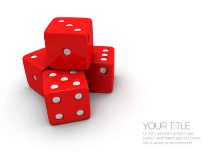 hits: A stack  pile of red and white dice on a white background.