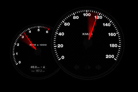 A black tachometer showing the acceleration of a car Stock Photo