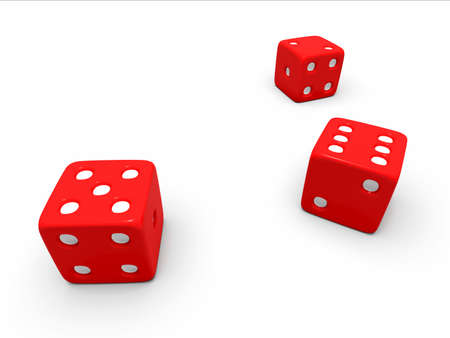 toss: A toss of three red dice on a white background
