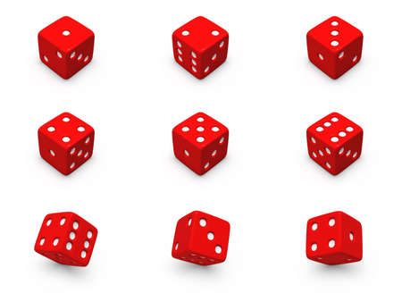 hits: Red dice from different positions on a white background
