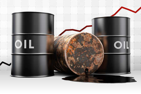 Leaking oil drum with an increasing price graph.