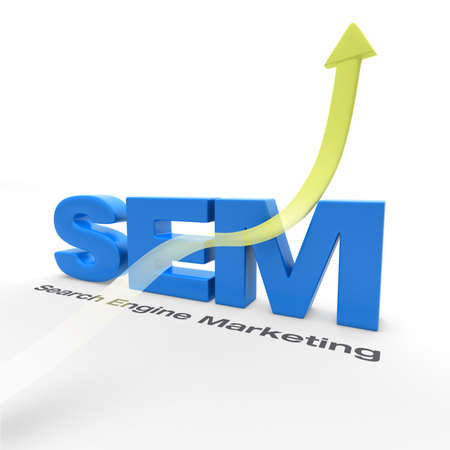 sem: SEM - Search Engine Marketing - with an arrow pointing up Stock Photo