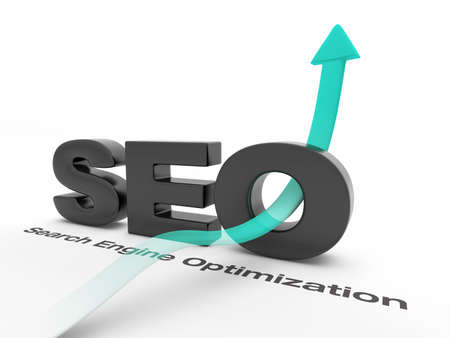 SEO - Search Engine Optimization - with an arrow pointing up. Stock Photo - 11936577