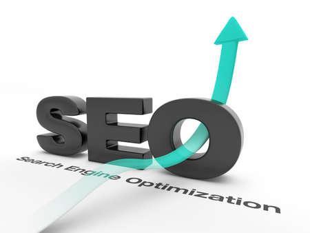 SEO - Search Engine Optimization - mit einem Pfeil nach oben. Standard-Bild