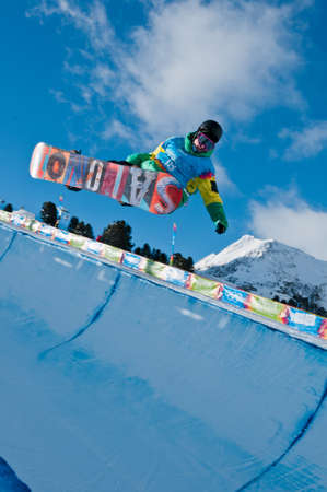 yog: KUEHTAI, AUSTRIA - JANUARY 14, 2012 - YOG 2012, Youth Olympic Games Innsbruck 2012, SNOWBOARD Halfpipe, Men. Rider: Manex Azula from Spain