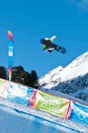 yog: KUEHTAI, AUSTRIA - JANUARY 14, 2012 - YOG 2012, Youth Olympic Games Innsbruck 2012, SNOWBOARD Halfpipe, Men. Rider: Tim-Kevin Ravnjak from Slovenia Editorial