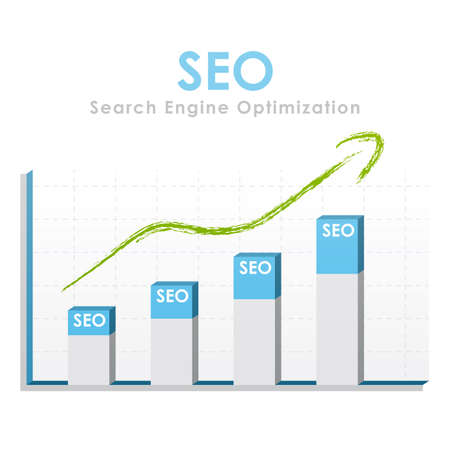 Business graph for seo with a green arrow going up photo