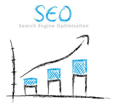 verhogen: Hand-drawn de financiële statistieken met pijl: Search Engine Optimization Stockfoto