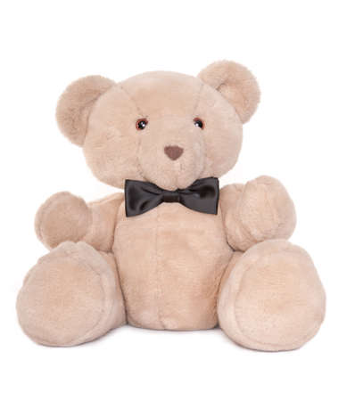 Portrait of a sitting teddy bear wearing a bow tie isolated on white photo
