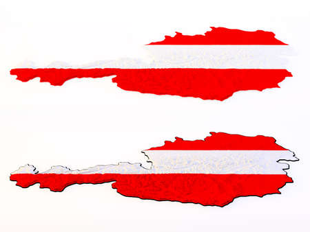 austrian flag: Two topographic Austrian maps colored in red white red isolated on white