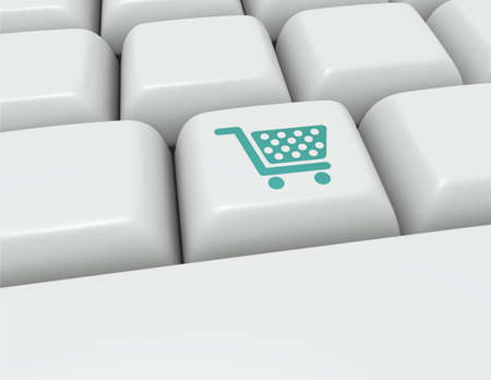 shopping cart button: Keyboard button with an icon for online shopping