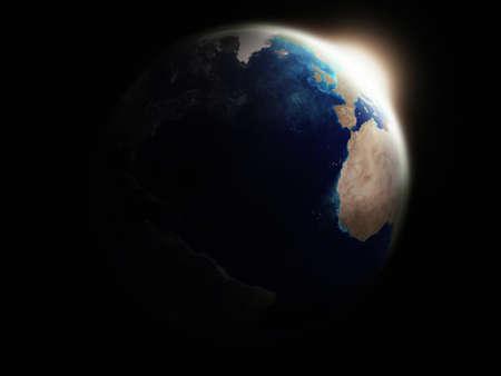 First sun rays illuminating earth