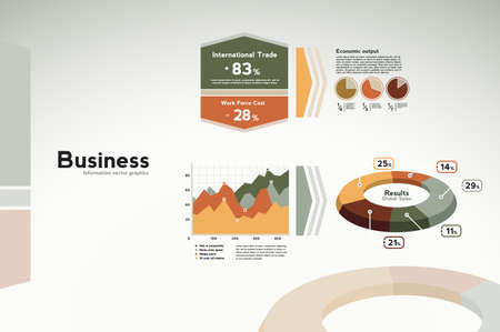 economia: Infograf�as de datos de negocios - gr�ficos, tablas y estad�sticas para la presentaci�n, informes, etc Vectores