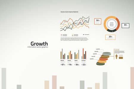 financial analysis: Corporate infographics - growth in graphs, statistics and graphics