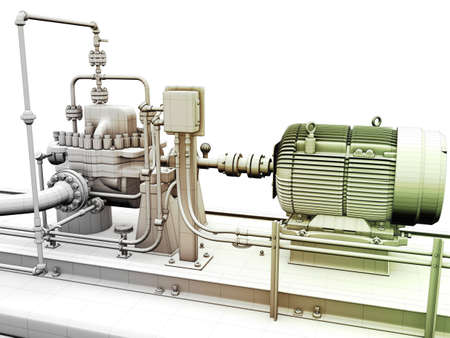 Design of industrial engine and power generator with wireframe on top Stock Photo