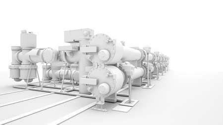 prototipo: El diseño de maquinaria industrial en el fondo blanco Foto de archivo