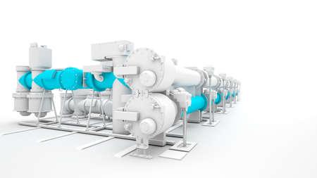 turbina de vapor: Render de maquinaria industrial en el fondo blanco