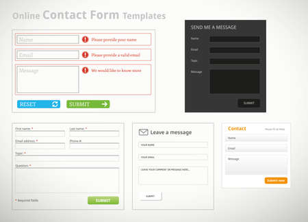A collection of contact form templates and scribbles for websites Illustration