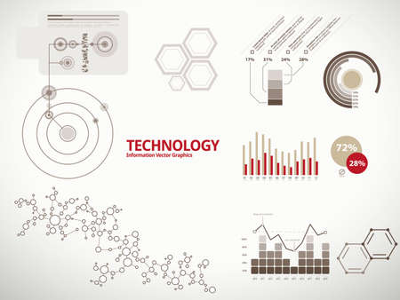 Technology infographics, charts, and diagrams for business reports and designs Vettoriali