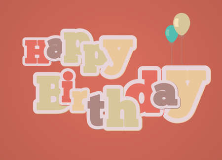 Vintage style happy birthday gift card on red background Vector