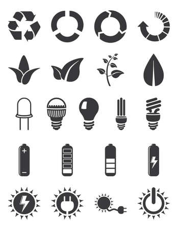 bulb icon: Set of  icons  ecology, energy, power and more on white background