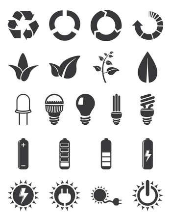 Zestaw ikon ekologii, energii, energii elektrycznej i nie tylko na białym tle Ilustracje wektorowe