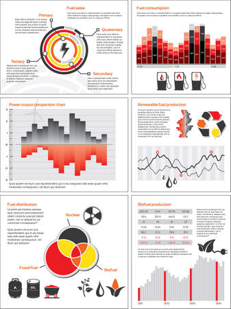Infographics with statistics and charts for energy and fuel consumption