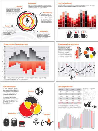 consommation: Infographies avec des statistiques et des graphiques pour l'�nergie et la consommation de carburant Illustration