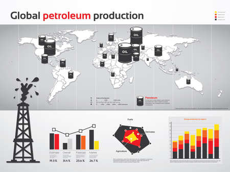 Charts and graphs of global petroleum and oil production Illustration