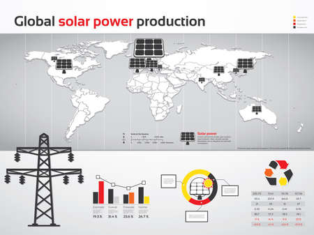Charts and graphics for global solar power production Vector