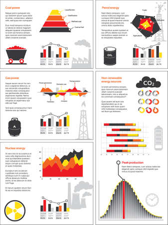 Charts and graphics of non-renewable energy sources like coal, oil, gas and nuclear power  Vector