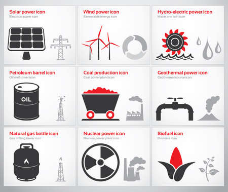 Icons for renewable and non-renewable energy sources  solar, wind, water, petroleum, coal, geothermal, gas, nuclear and biofuel  Vector