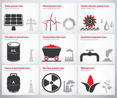 Pictogrammen voor hernieuwbare en niet-hernieuwbare energiebronnen zon, wind, water, aardolie, steenkool, geothermische energie, gas, kernenergie en biobrandstoffen