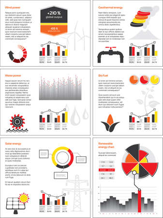 Infographics with graphs and charts for renewable energy Vector