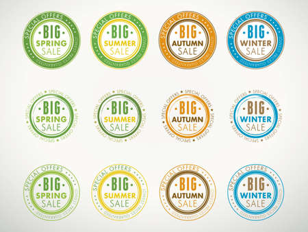 A collection of seasonal sales stamps for spring, summer, autumn and winter