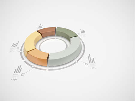 3d donut chart with numbers and symbols for business statistics and reports  Stock Photo