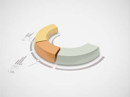 Partial 3d donut chart in motion with numbers and symbols for business statistics and reports Stock Photo - 16676848