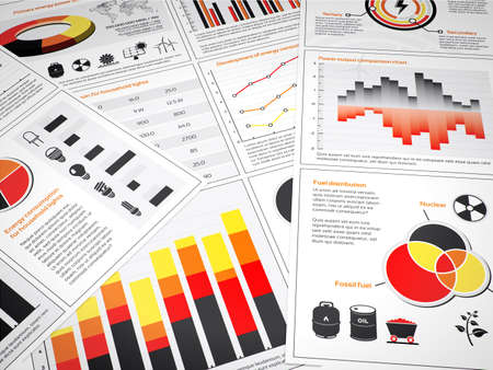 Multiple graphs and charts with energy information and icons Stock Photo
