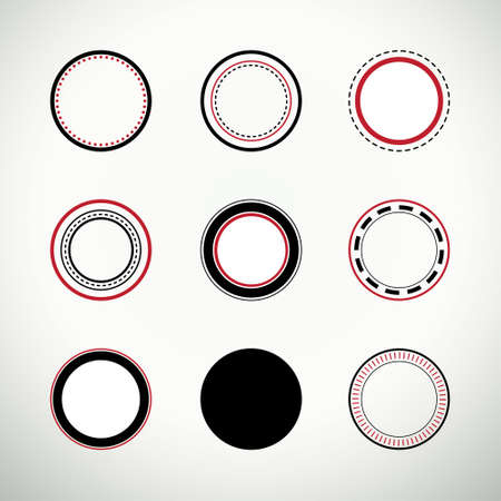 certificate seal: Set of clean round quality stamps in black and red