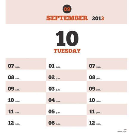 Calendar day template with time schedule