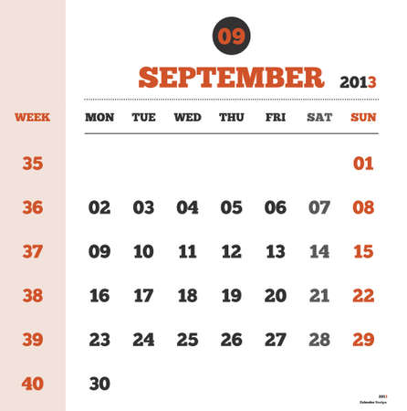 Calendar template for the month of september 2013 with weeks and days Stock Vector - 17807929