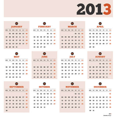 Calendar template with months and days of the year 2013 Illustration