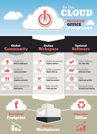 Icons, symbols and effects of a modern cloud office environment photo