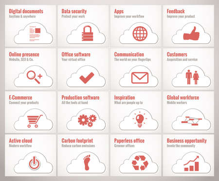 Icons and symbols for cloud online business and offices photo