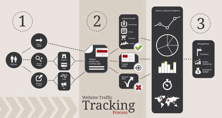 Symbols and elements for website traffic tracking infographics