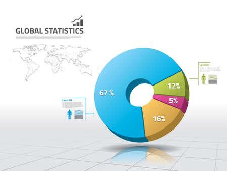 Pie chart: business statistics Archivio Fotografico
